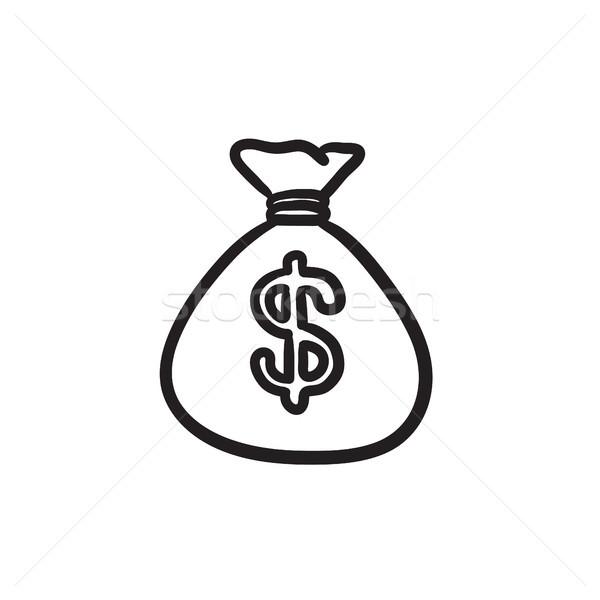 Pénz táska rajz ikon vektor izolált Stock fotó © RAStudio