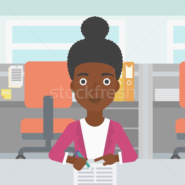 Firma business documenti donna ufficio segno Foto d'archivio © RAStudio