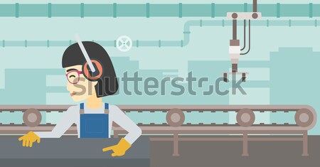 Woman working on milling machine. Stock photo © RAStudio