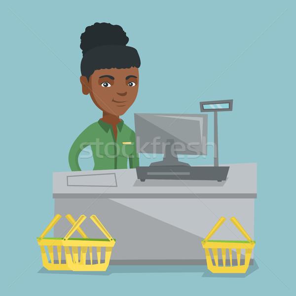 キャッシャー 立って スーパーマーケット 小さな レジ ストックフォト © RAStudio