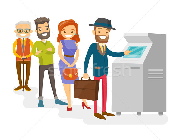 Caucasian white people standing in a queue to ATM. Stock photo © RAStudio