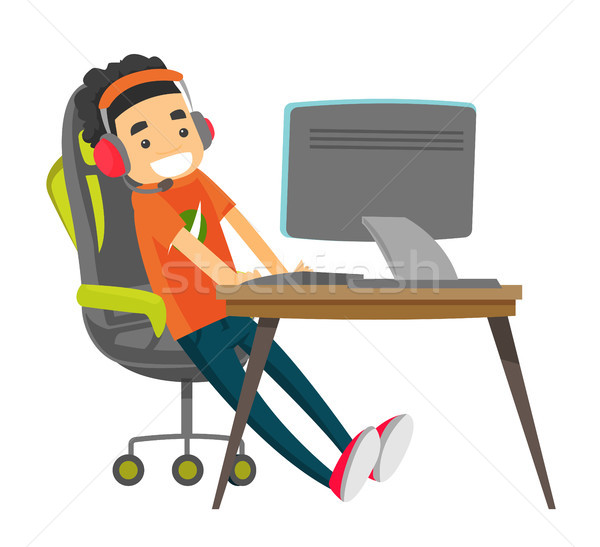 Jeunes blanche jouer jeu vidéo adolescent Photo stock © RAStudio