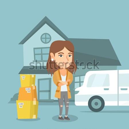 Fiatal nő mozog új ház boldog háztulajdonos Stock fotó © RAStudio