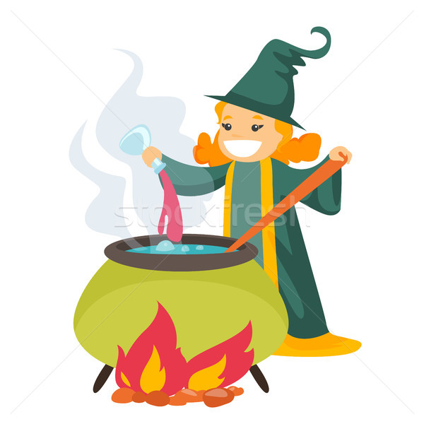 Red hair witch cooking the potion in the boiler. Stock photo © RAStudio