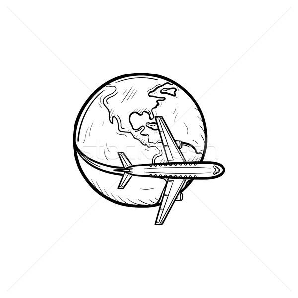 Сток-фото: самолет · Flying · вокруг · Мир · рисованной · икона