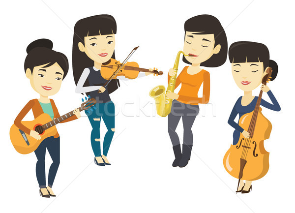 Bande musiciens jouer instruments de musique asian Photo stock © RAStudio