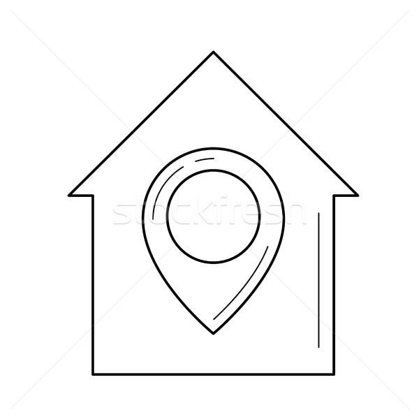 недвижимости расположение линия икона вектора изолированный Сток-фото © RAStudio