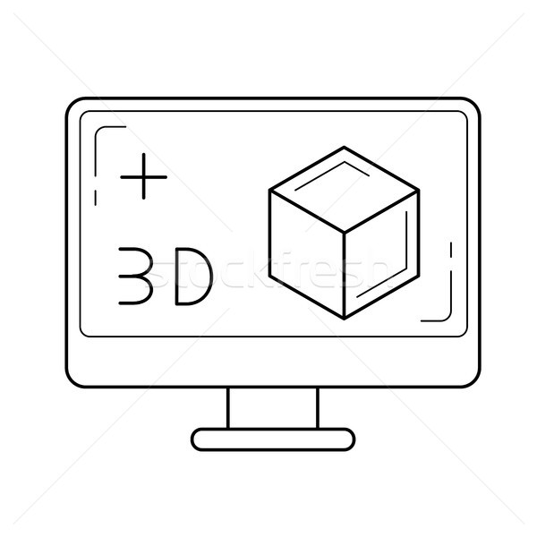 Computer monitor with 3D box line icon. Stock photo © RAStudio