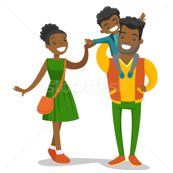 Young african-american family strolling. Stock photo © RAStudio