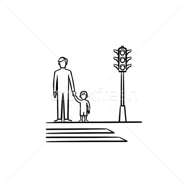 ребенка родителей тротуаре эскиз икона рисованной Сток-фото © RAStudio