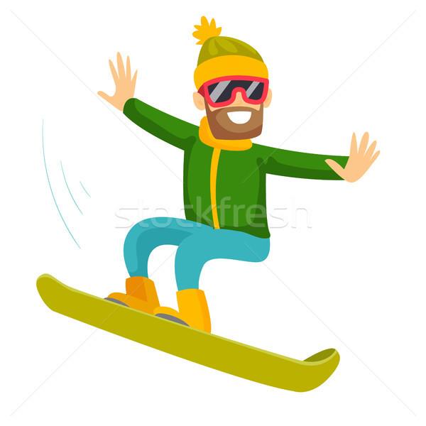 Jonge kaukasisch blanke man paardrijden snowboard Stockfoto © RAStudio