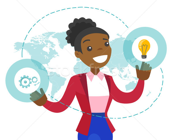 A businesswoman with a lightbulb and a map as symbols of global business idea. Stock photo © RAStudio