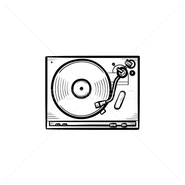 Turntable sonores mixeur dessinés à la main doodle Photo stock © RAStudio