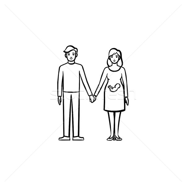 Family couple expecting a baby hand drawn outline doodle icon. Stock photo © RAStudio