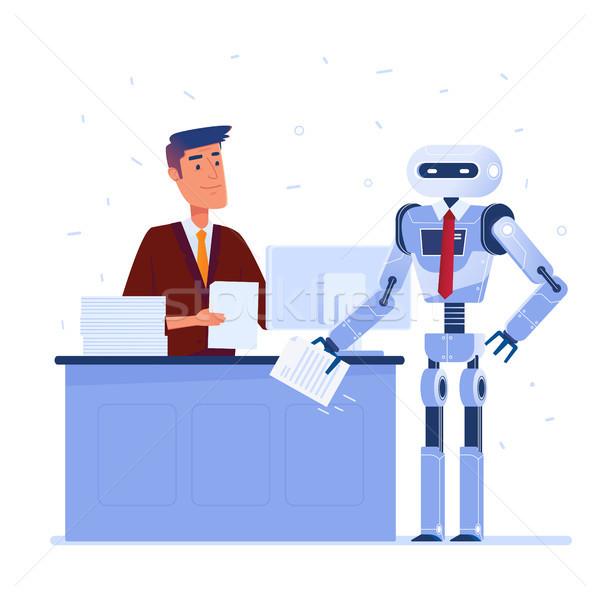 Mesterséges intelligencia fiatal kaukázusi férfi robot kezek Stock fotó © RAStudio