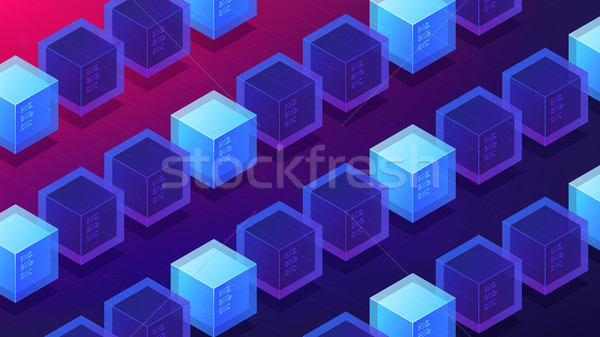 Isometric blockchain mining proof of work landing page concept. Stock photo © RAStudio