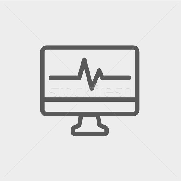 Bicie serca Widok monitor cienki line ikona Zdjęcia stock © RAStudio