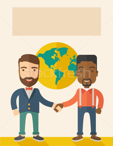 American and black guy happily handshaking. Stock photo © RAStudio