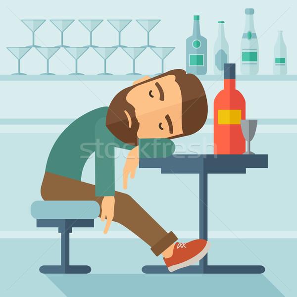 Drunk man fall asleep in the pub. Stock photo © RAStudio