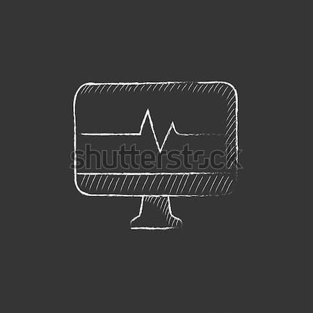 Heartbeat display on monitor drawn in chalk Stock photo © RAStudio