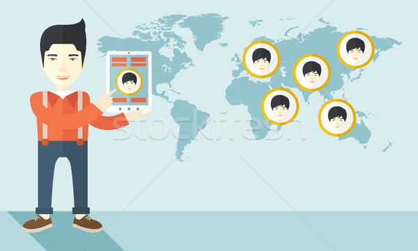 Mapie świata twarze cel asian identyfikacja twarz Zdjęcia stock © RAStudio