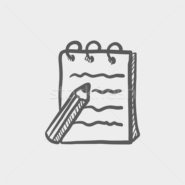 Writing pad and pen sketch icon Stock photo © RAStudio