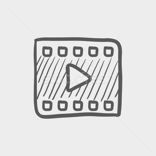 Filmstrip schets icon web mobiele Stockfoto © RAStudio