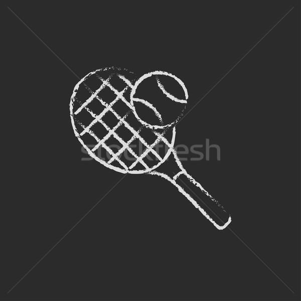 Tennisracket bal icon krijt Stockfoto © RAStudio