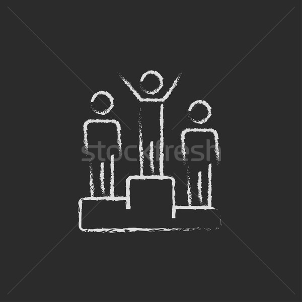 Nyertesek pódium ikon rajzolt kréta kézzel rajzolt Stock fotó © RAStudio