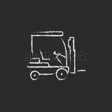 Targonca ikon rajzolt kréta rajz kézzel rajzolt Stock fotó © RAStudio
