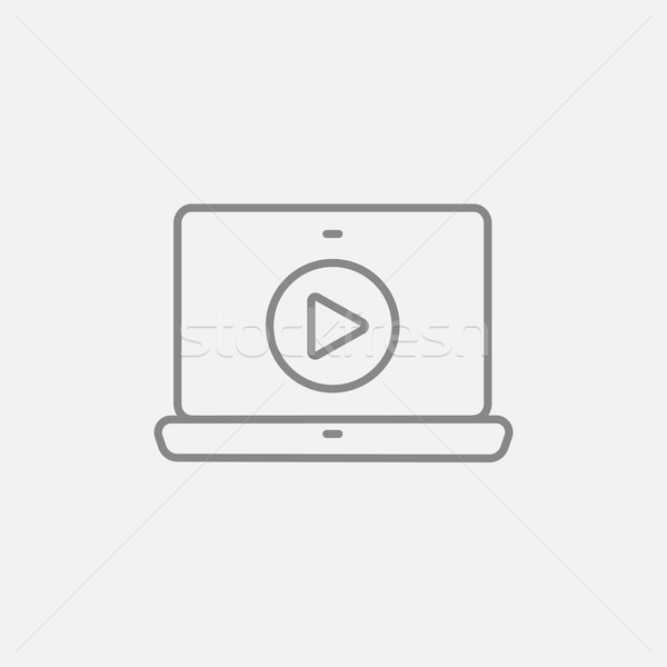 Laptop with play button on screen line icon. Stock photo © RAStudio