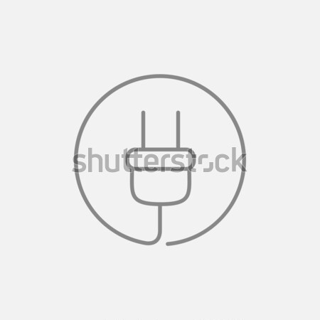 Plug линия икона веб мобильных Инфографика Сток-фото © RAStudio