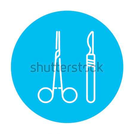 Sebészi vonal ikon orvosi szike háló Stock fotó © RAStudio