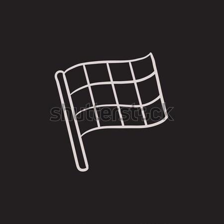 Stock photo: Checkered flag line icon.