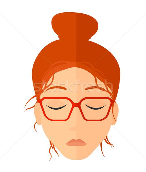 Nő csukott szemmel vektor terv illusztráció izolált Stock fotó © RAStudio