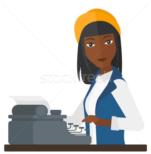 Verslaggever werken schrijfmachine schrijven vector ontwerp Stockfoto © RAStudio