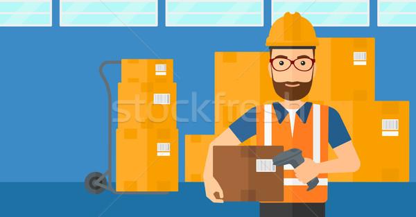 Werknemer barcode vak man scanner karton Stockfoto © RAStudio