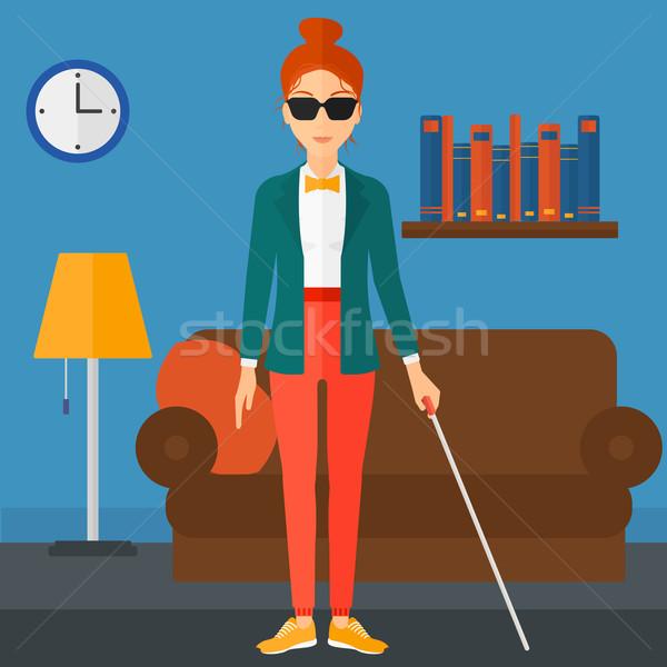 Blinde vrouw stick donkere bril permanente Stockfoto © RAStudio