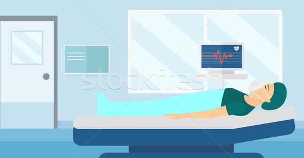 Hasta kalp izlemek kadın oksijen maskesi Stok fotoğraf © RAStudio