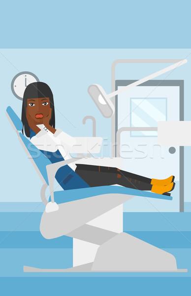 Ijedt beteg fogászati szék nő ül Stock fotó © RAStudio