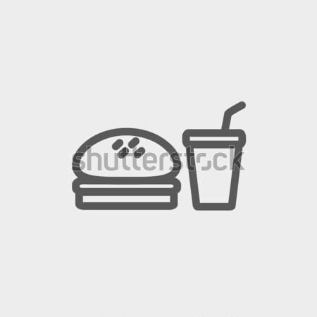 Fast food maaltijd lijn icon hoeken web Stockfoto © RAStudio