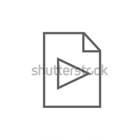 Audio bestand lijn icon hoeken web Stockfoto © RAStudio