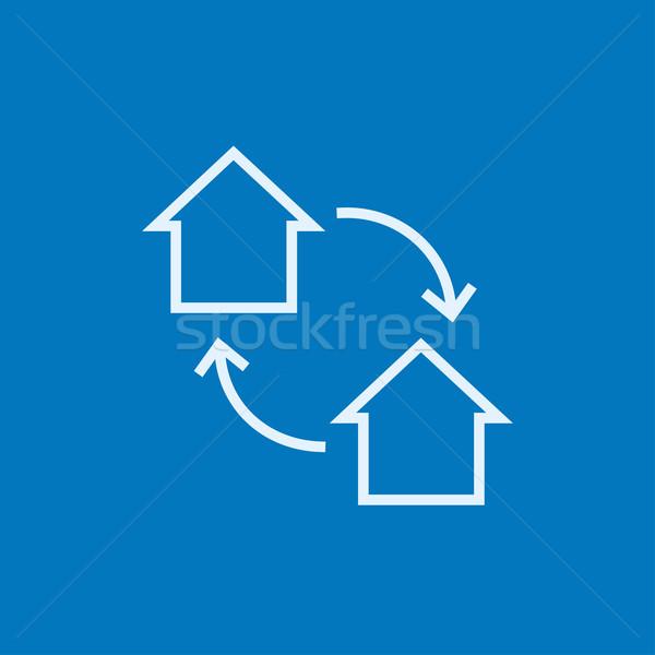Ev değiştirme hat ikon köşeler web Stok fotoğraf © RAStudio