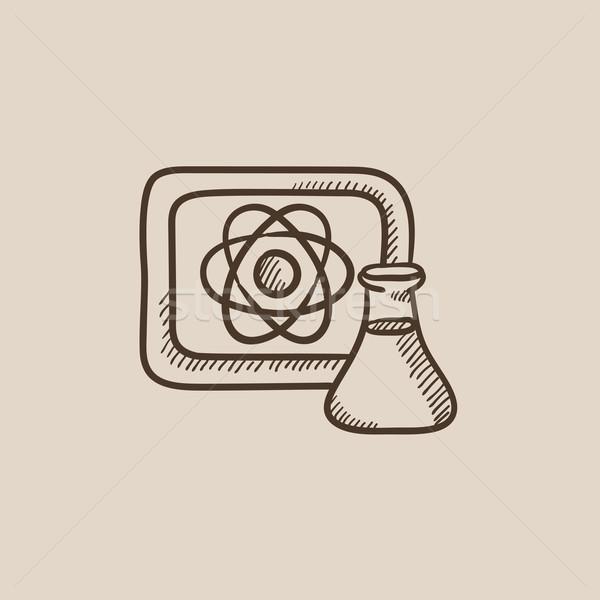 Atom sign drawn on board and flask sketch icon. Stock photo © RAStudio