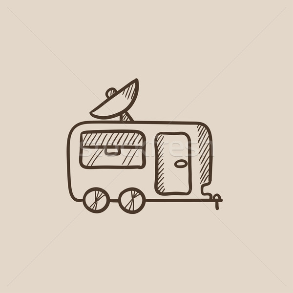 Caravan with satellite dish sketch icon. Stock photo © RAStudio