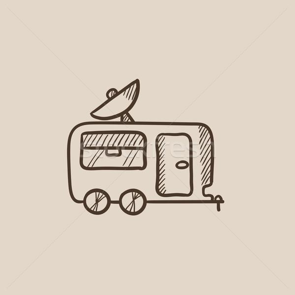 Caravan sketch icona web mobile Foto d'archivio © RAStudio