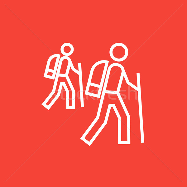Tourist backpackers line icon. Stock photo © RAStudio