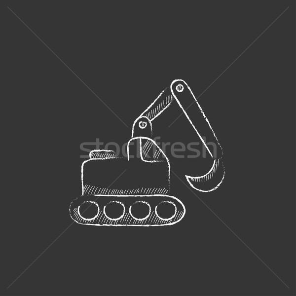 Excavadora tiza icono dibujado a mano vector Foto stock © RAStudio