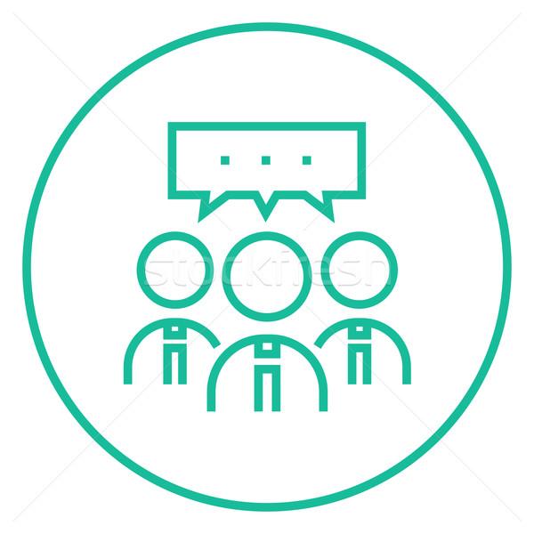 People with speech square above their heads line icon. Stock photo © RAStudio