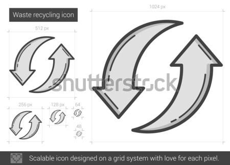 Zwei Rundschreiben Pfeile line Symbol Ecken Stock foto © RAStudio